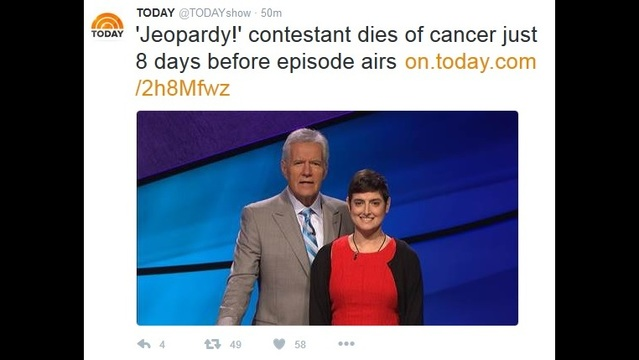 'Jeopardy!' contestant dies of cancer just 8 days before episode airs