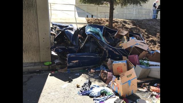 Three seriously injured after vehicle crashes into wall in central Fresno