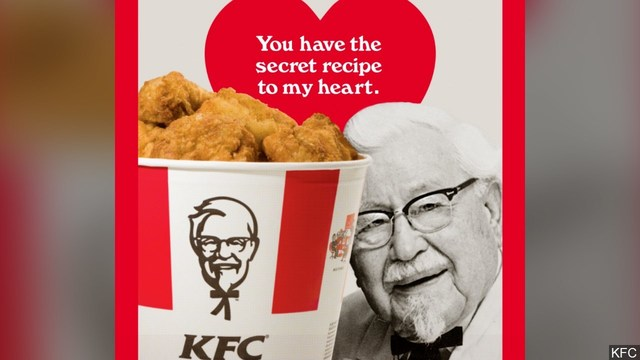 KFC offers scratch 'n' sniff Valentine's Day cards – that smell like chicken