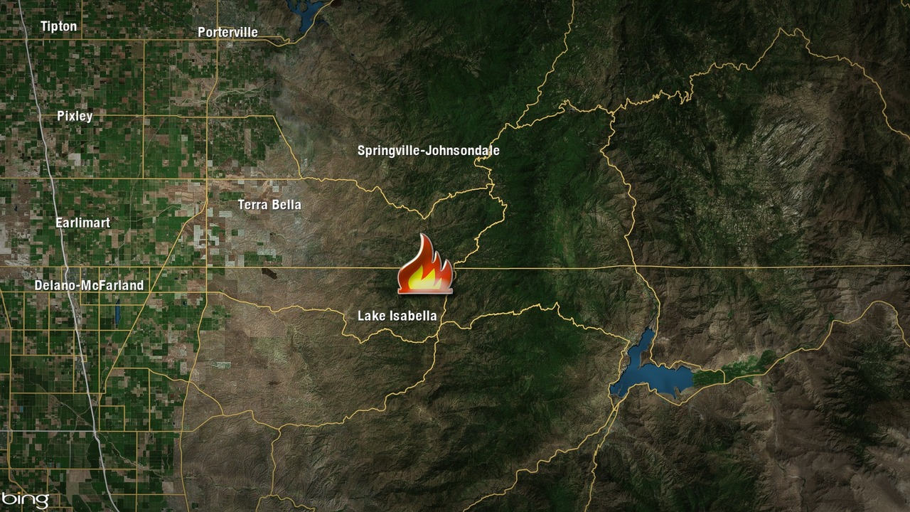 Lake Isabella Fire Map.Crews Battle Wildland Fire In Tulare County