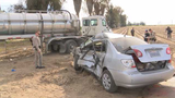 'Not very responsive' woman hospitalized after semi-truck crash in Fresno County